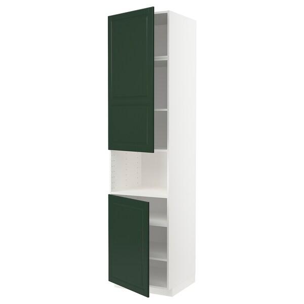 METOD Armoire micro-ondes+2ptes/tablette, blanc/Bodbyn vert foncé, 60x60x240 cm