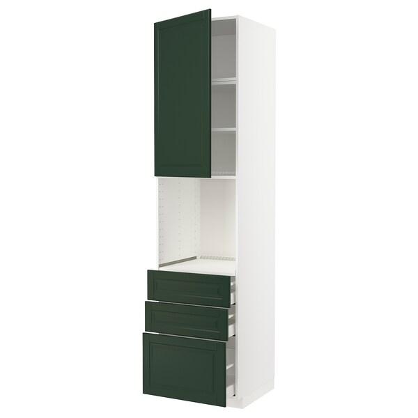 METOD / MAXIMERA Armoire four+porte/3 tiroirs, blanc/Bodbyn vert foncé, 60x60x240 cm