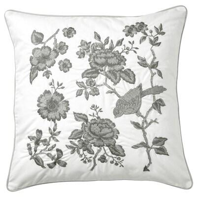 PRAKTBRÄCKA Coussin, blanc/gris clair, 50x50 cm