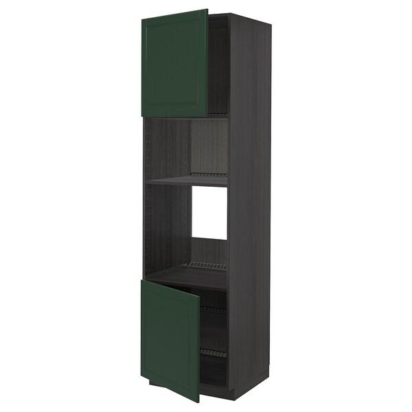 METOD Armoire four/micro-ondes 2portes/tb, noir/Bodbyn vert foncé, 60x60x220 cm