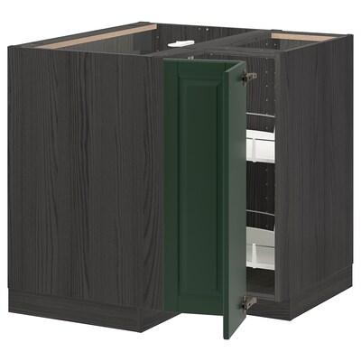 METOD Élément bas angle+rgt pivotant, noir/Bodbyn vert foncé, 88x88 cm
