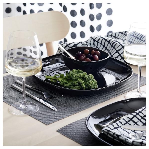 BACKIG Assiette, noir, 25x25 cm