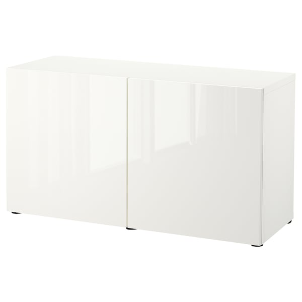 BESTÅ Combinaison rangement portes, blanc/Selsviken brillant/blanc, 120x42x65 cm