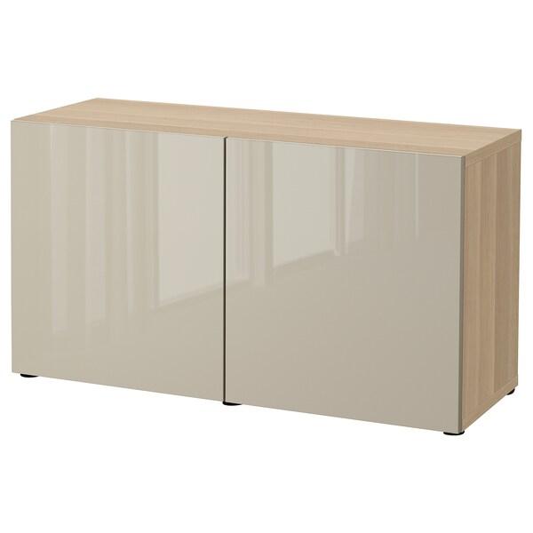 BESTÅ Combinaison rangement portes, effet chêne blanchi/Selsviken brillant/beige, 120x42x65 cm