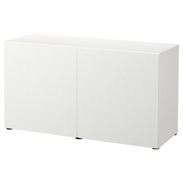 BESTÅ Combinaison rangement portes, blanc/Laxviken blanc, 120x42x65 cm