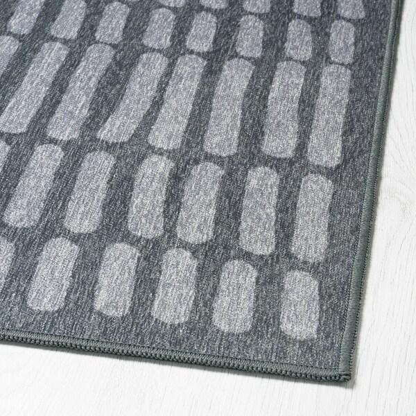 OMTÄNKSAM Tapis tissé à plat, gris, 133x195 cm