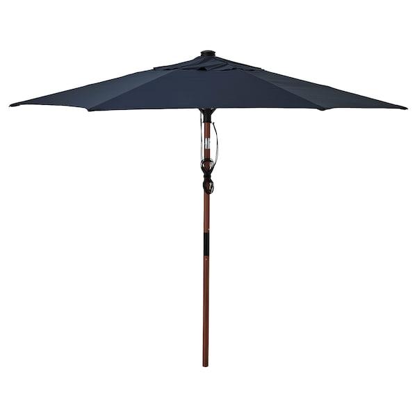 BETSÖ / LINDÖJA Parasol, brun effet bois/bleu foncé, 300 cm