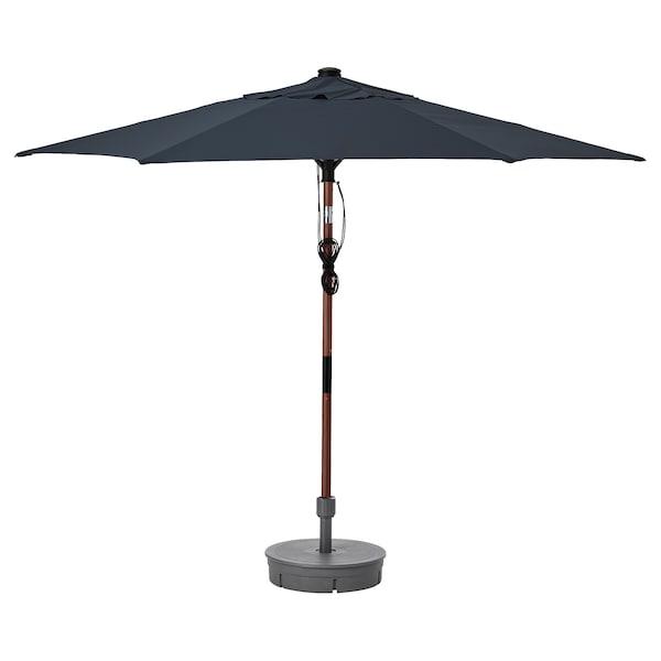 BETSÖ / LINDÖJA Parasol avec pied, effet bois marron bleu foncé/Grytö, 300 cm