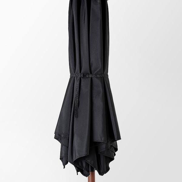 BETSÖ / LINDÖJA Parasol avec pied, effet bois marron noir/Grytö, 300 cm