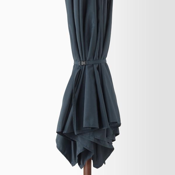 BETSÖ / LINDÖJA Parasol avec pied, effet bois marron bleu foncé/Huvön, 300 cm