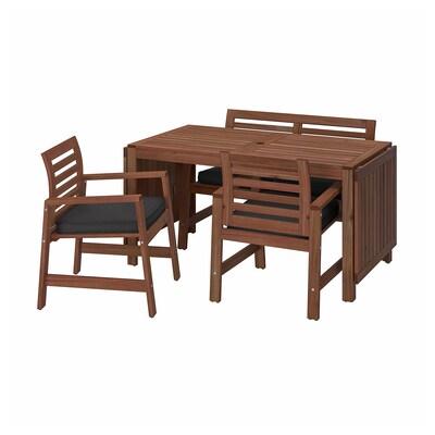 ÄPPLARÖ Table+2 ch accoud+banc, extérieur, teinté brun/Järpön/Duvholmen anthracite