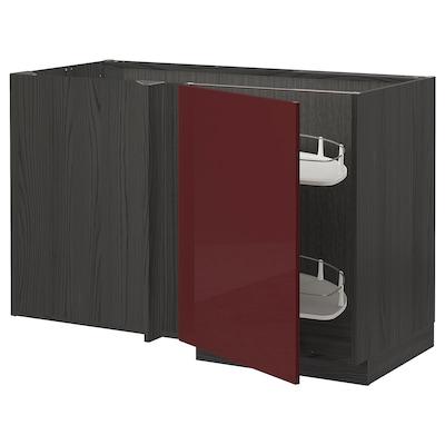 METOD Élément bas angle+aménagement couli, noir Kallarp/brillant brun-rouge foncé, 128x68 cm
