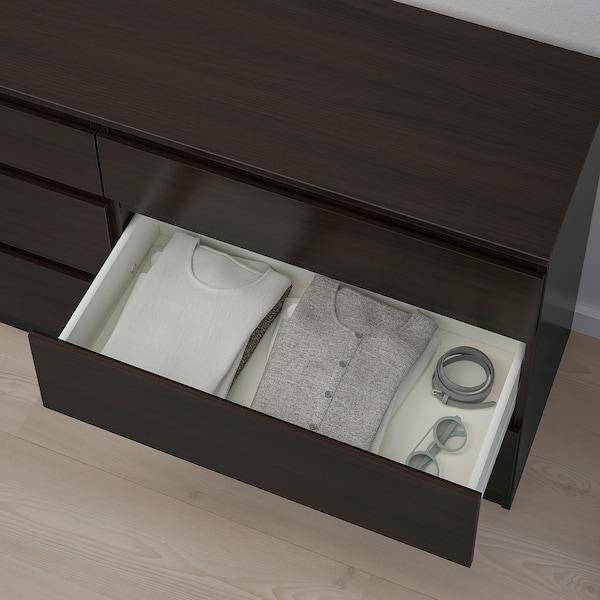 KULLEN Commode 6 tiroirs, brun noir, 140x72 cm