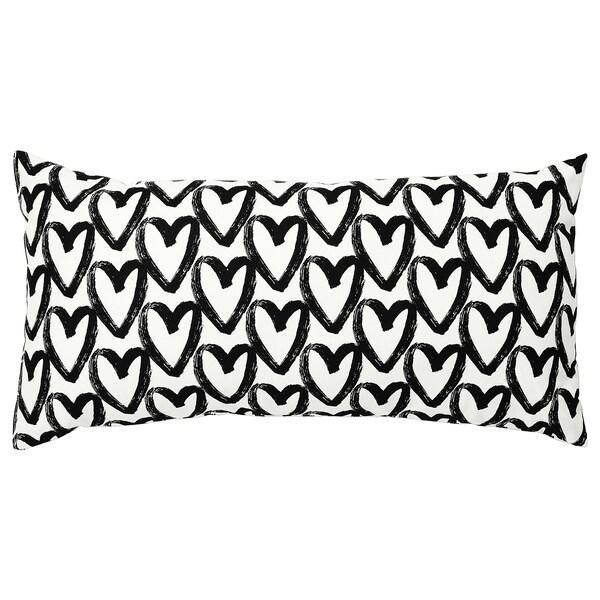 LYKTFIBBLA Coussin, blanc/noir, 30x58 cm