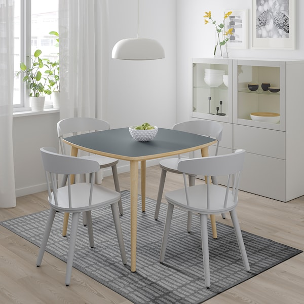 OMTÄNKSAM Table, anthracite/bouleau, 95x95 cm