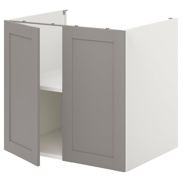 ENHET Élt bas av tabl/ptes, blanc/gris avec cadre, 80x60x75 cm