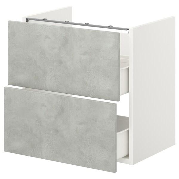 ENHET Élément bas lavabo av 2 tiroirs, blanc/imitation ciment, 60x40x60 cm