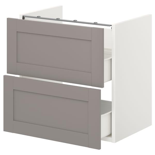 ENHET Élément bas lavabo av 2 tiroirs, blanc/gris avec cadre, 60x40x60 cm