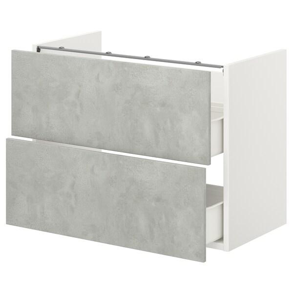 ENHET Élément bas lavabo av 2 tiroirs, blanc/imitation ciment, 80x40x60 cm
