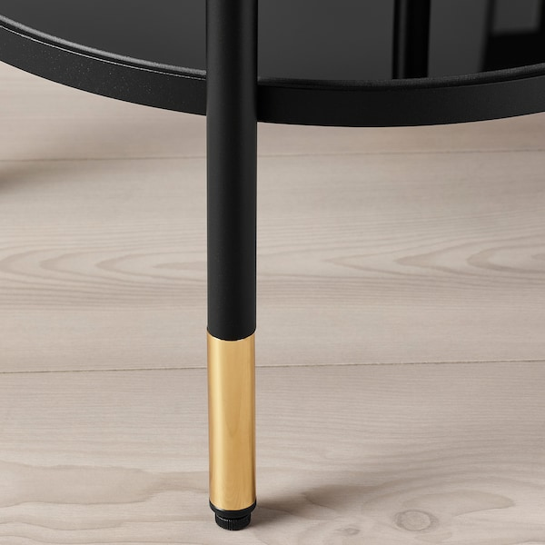 ÄSPERÖD Table d'appoint, noir/verre noir, 45 cm