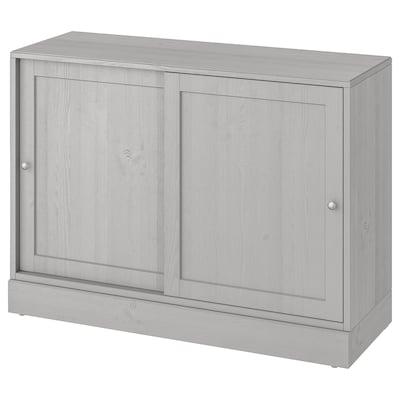 HAVSTA Armoire avec plinthe, gris, 121x47x89 cm