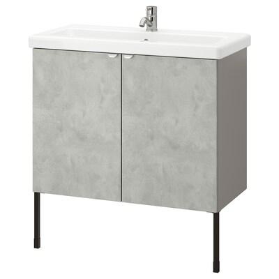 ENHET / TVÄLLEN Élément lavabo à 2 portes, imitation ciment/gris Pilkån mitigeur lavabo, 84x43x87 cm