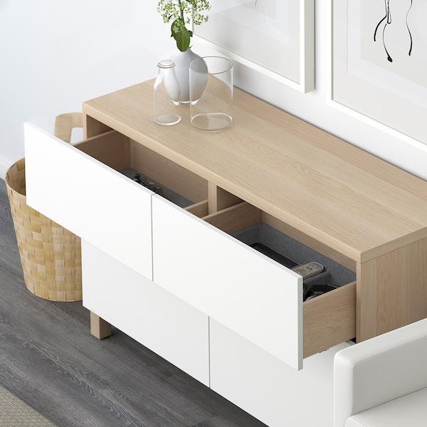 BESTÅ Mueble salón, efecto roble tinte blanco/Lappviken blanco, 120x42x74 cm