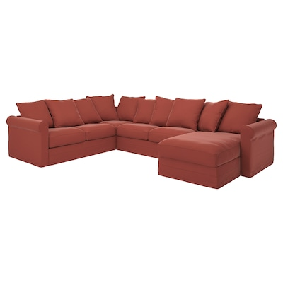 GRÖNLID Canapé d'angle, 5 places, avec méridienne/Ljungen rouge clair