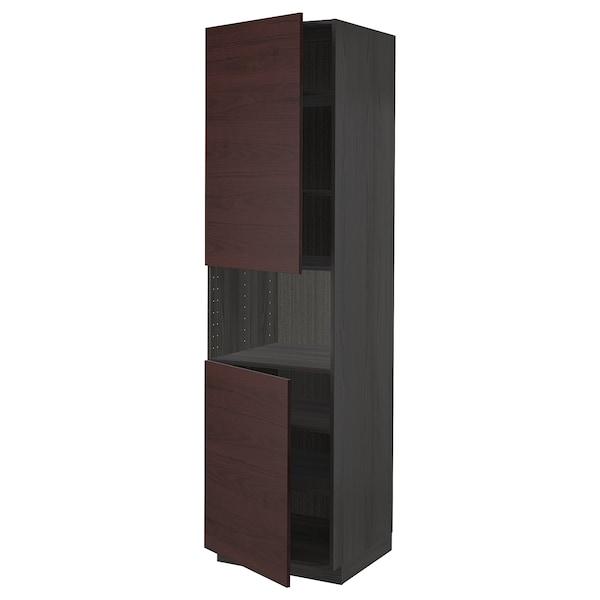METOD Armoire micro-ondes+2ptes/tablette, noir Askersund/brun foncé décor frêne, 60x60x220 cm