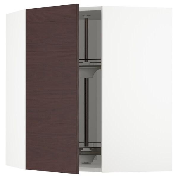 METOD Élément angle mural+rangement pivot, blanc Askersund/brun foncé décor frêne, 68x80 cm