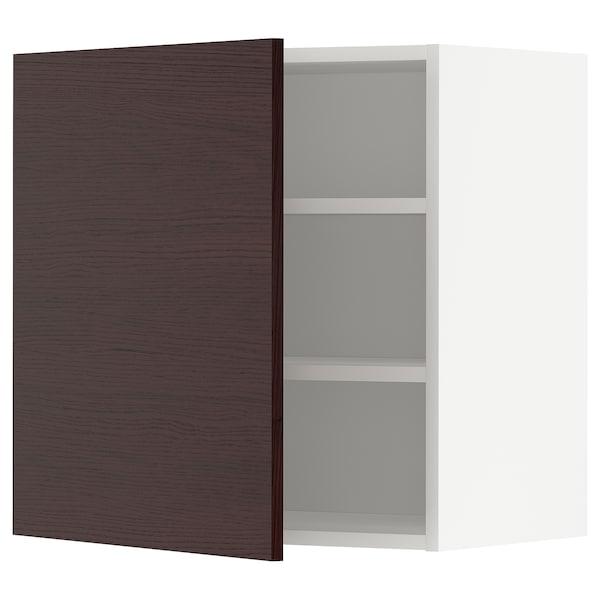 METOD Élément mural + tablettes, blanc Askersund/brun foncé décor frêne, 60x60 cm