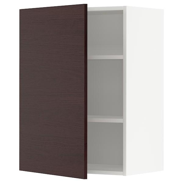 METOD Élément mural + tablettes, blanc Askersund/brun foncé décor frêne, 60x80 cm