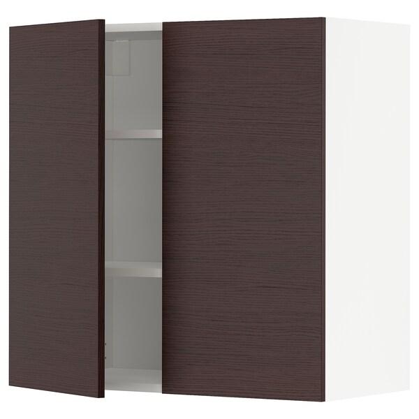 METOD Élément mural tablettes/2portes, blanc Askersund/brun foncé décor frêne, 80x80 cm