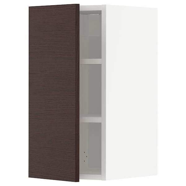 METOD Élément mural + tablettes, blanc Askersund/brun foncé décor frêne, 30x60 cm