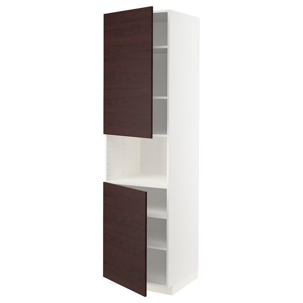 METOD Armoire micro-ondes+2ptes/tablette, blanc Askersund/brun foncé décor frêne, 60x60x220 cm