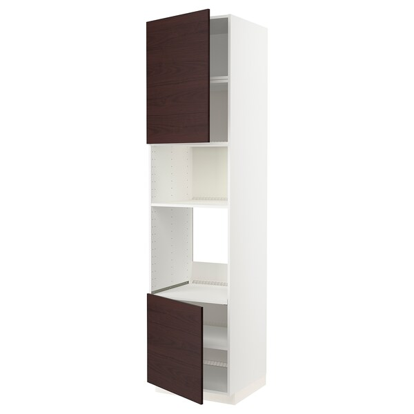 METOD Armoire four/micro-ondes 2portes/tb, blanc Askersund/brun foncé décor frêne, 60x60x240 cm