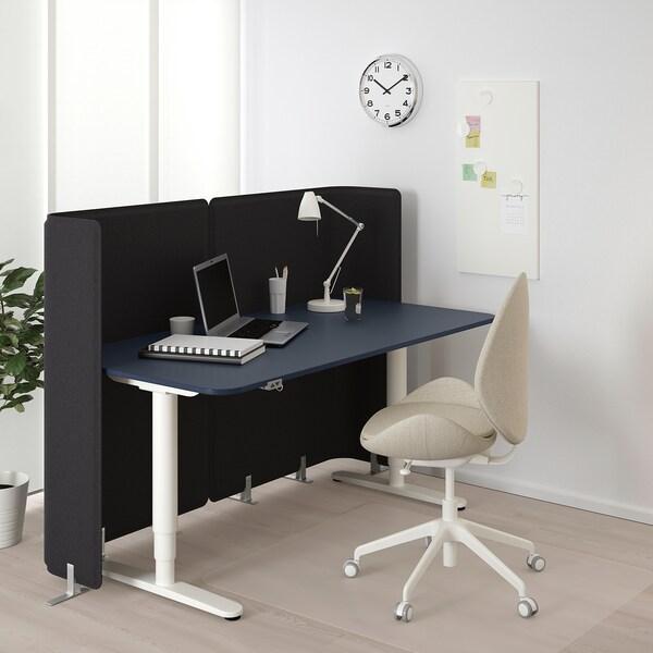 BEKANT Bureau de réception assis/debout, linoléum bleu/blanc, 160x80 120 cm