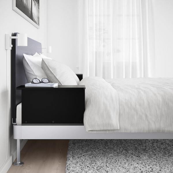 DELAKTIG Cadre lit/tête lit/2 tables chevet, aluminium/noir, 160x200 cm