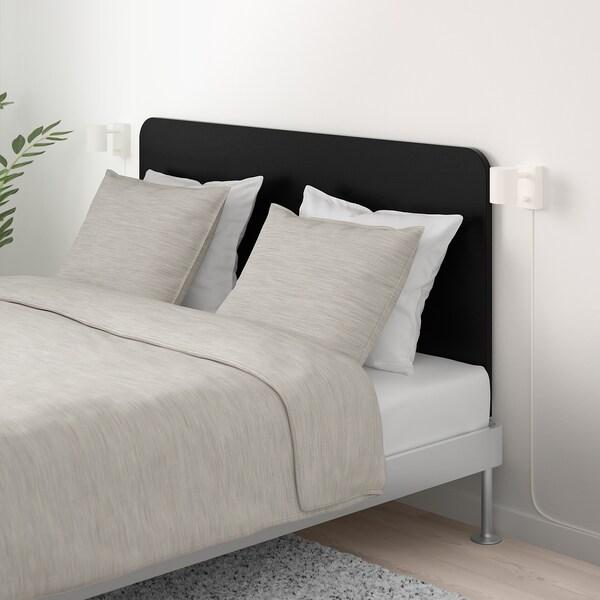 DELAKTIG Structure lit avec tête de lit, aluminium/noir, 160x200 cm