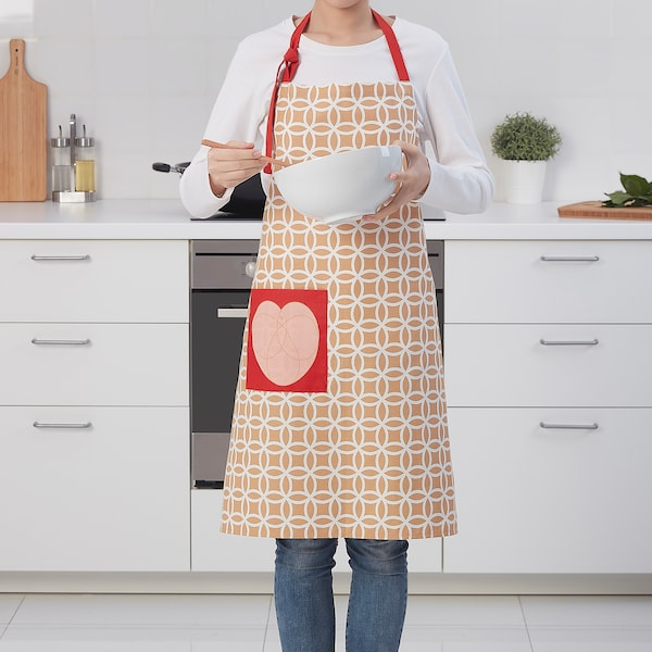 SOLGLIMTAR Apron, brown/white