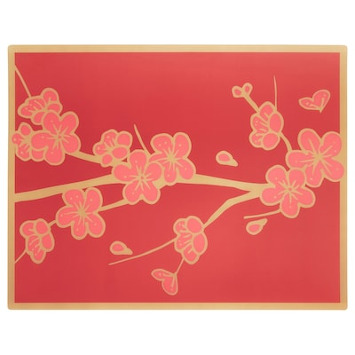 """SOLGLIMTAR Place mat, red/gold-colour flower, 18x14 """""""