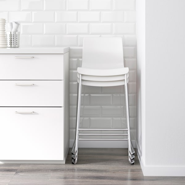 GLENN Tabouret de bar, blanc/chromé, 66 cm