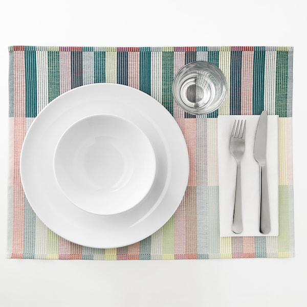 MITTBIT Set de table, rose turquoise/vert clair, 45x35 cm