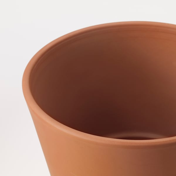 INGEFÄRA Pot avec coupelle, extérieur terre cuite, 24 cm