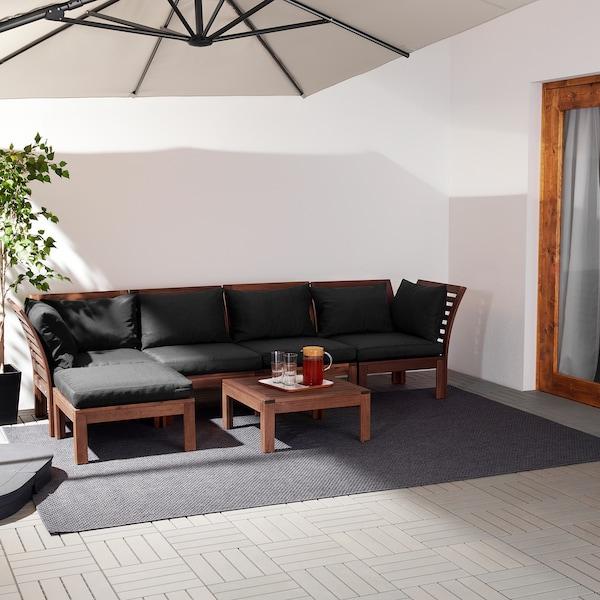ÄPPLARÖ Canapé 4pl modulable, ext, avec repose-pied teinté brun/Hållö noir, 143/286x80x73 cm