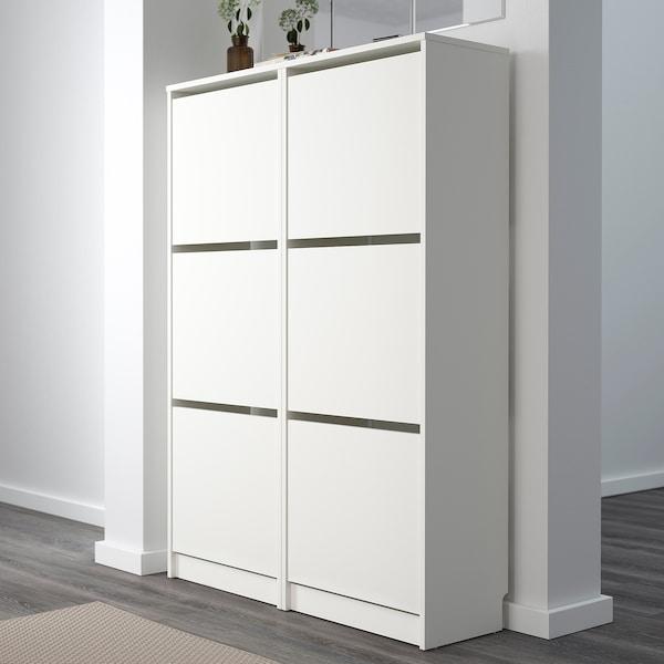 BISSA Armoire à chaussures 3 casiers, blanc, 49x135 cm