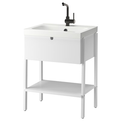 VILTO / ODENSVIK Wash-stand with 1 drawer, white/LUNDSKÄR tap, 65x49x86 cm