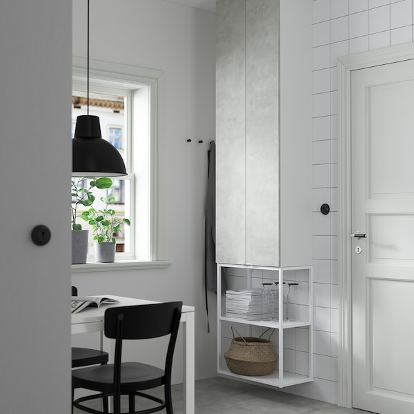 ENHET Wall storage combination, white/concrete effect, 60x30x255 cm
