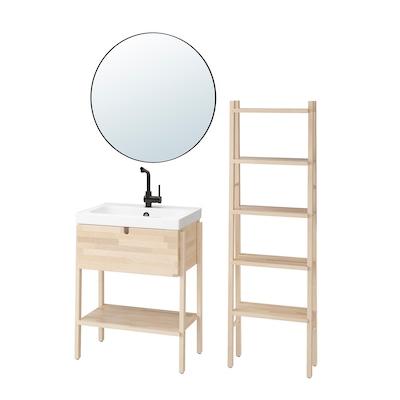 VILTO / ODENSVIK Bathroom furniture, set of 5, birch/LUNDSKÄR tap, 65x49x86 cm