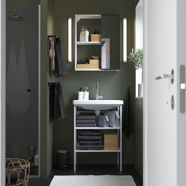 ENHET / TVÄLLEN Mobilier salle de bain, 9 pièces, blanc/mitigeur Glypen, 64x43x87 cm